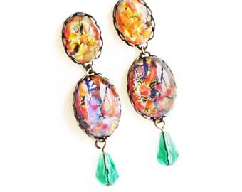 Fire Opal Post Earrings Vintage Fire Opal Drop Jewelry Large Iridescent Glass Stud Earrings Pink Orange Studs Bridal Wedding Jewelry