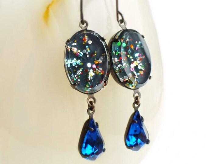 Cosmic Glitter Earrings Vintage Glass Rhinestones Teal Blue Rainbow Glitter Earrings Nail Polish Jewelry