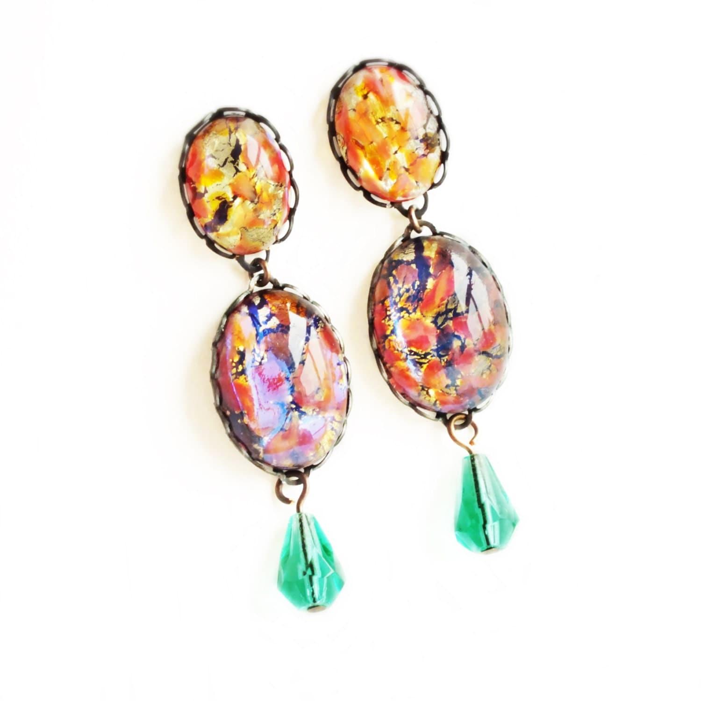 Fire Opal Post Earrings Vintage Fire Opal Drop Jewelry Large