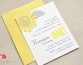 You Are My Sunshine Invitations · A2 FLAT · Yellow and Gray · Birthday Party | Sunshine Baby Shower | First Birthday Party