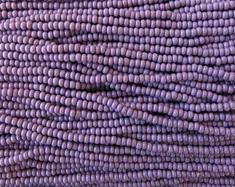 8/0 Opaque Medium Purple Czech Glass Seed Bead Strand (CW34)
