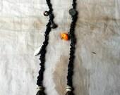 RESERVED TWO Snow Leopard, a Fiber Art and Porcelain Necklace Primitive Tribal Talisman Amulet w/ Artisan Beads, Antik Metal & Mala Yak Bone