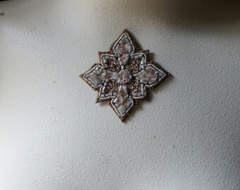 Blush Beaded Applique Exquisite in Blush & Gold No 2 for Bridal, Sashes, Pendants, Handbags, Costumes, Jewelry, Home Decor.
