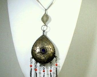 BIG Moroccan Berber Teardrop Pendant, Bedouin 5 Long Chain Fringed Pendants, Color Jewel,  Mehknes Morocco,  Protection, Islamic Traditional