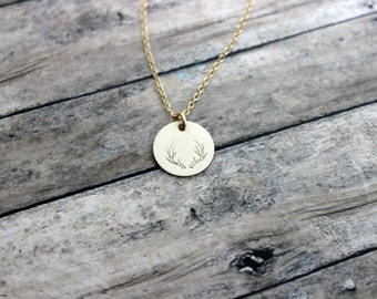 Deer Antler Necklace, 14k Gold filled Disc with deer antler design  Hand Stamped, Outdoor girl jewelry, Hunter necklace