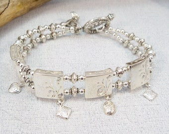 Silver Charm Bracelet, Metal Bracelet, Silver Cuff, Gift for Her, Charm Bracelet, Double Strand Bracelet
