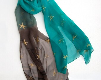 Hand Painted Scarf- Winter Stars- Silk Chiffon scarf/ Aqua brown shawl with golden stars/ Large handpainted scarf/  Mothers day gift