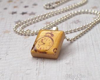 ALARM CLOCK Scrabble Necklace, Handmade Scrabble Tile Art Pendant, Wood Tile Pendant, Clock Charm, Vintage~Look, Tiny Jewelry, Upcycled