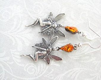 Fantasy Fairy Nymph Swarovski Sun Crystal Earrings