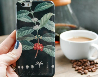 Coffee iPhone 6S Case, Black Botanical iPhone 7 Case Coffee Bean iPhone SE Case, iPhone Case Gifts For Coffee Lovers iPhone 6S Plus Case