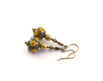 Bumpy Brown and Gold Earrings - Lampwork Earrings - Swarovski Earrings - Brass Earrings - Wire Earrings - Antique Brass Earrings - Small