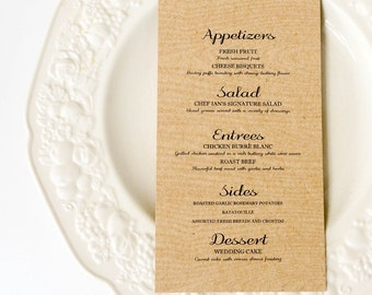 Custom Rustic Woodgrain Menu Card