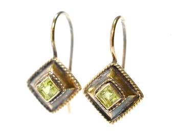 Etruscan Style Peridot and Vermeil Sterling Earrings