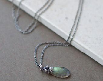Small Labradorite Pendant / Labradorite Necklace Oxidized Sterling Silver / Wire Wrapped Labradorite Necklace / Beaded Briolette Jewelry