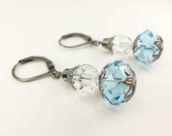 Light Blue Earrings Dark Silver Dangle Earrings Glass Light Blue Drop Earrings Gunmetal