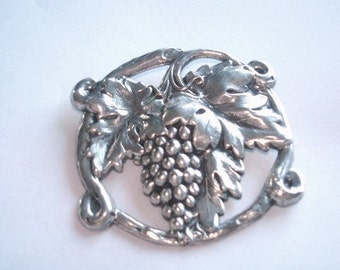 Grapevines Silver Tones Repousse Brooch