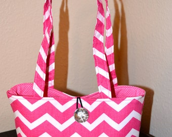 Pink Chevron Bag - Cotton Mini Tote bag - Chevron Handbag - Diaper bag - School purse