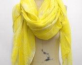 Tassel Scarf Beach scarf Oversize Shawl, Yellow leaf pattern ,Geometric scarf , Beach scarf holiday, Summer scarves