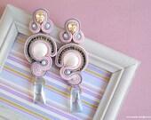 Long soutache earrings ~ The SATIN Earrings ~ dangle earrings - statement earrings - pink grey earrings - soutache jewelry - FREE P&P