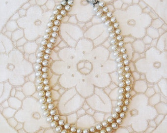Vintage Glass Pearl Double Strand Necklace (N-2-4)