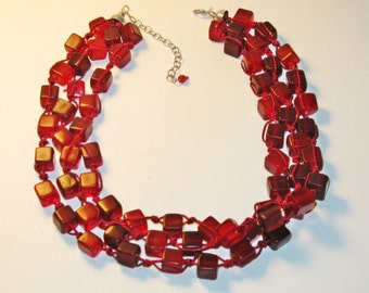Vintage Red Glass Square Bead Multistrand Necklace (N-1-2)