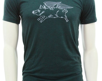 Flying Pig| Soft lightweight T Shirt| men's unisex tee| Crew & V-neck| Bike| Gift for him and her| Farm animal When pigs fly| Wings.