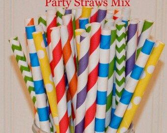 Paper Straws, 30 Ninja Turtle Party Paper Straws, Plastic Mason Jar Straws, Birthday Party Straws, Red Straws, Blue Straw, Orange Straw,