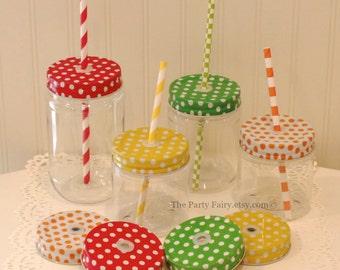 Plastic Mason Jars, 12 Plastic Mason Jars w/ POLKA DOT Jar Lids, Plastic Mason Cups, Plastic Wedding Cups, Baby Shower Favors, Mason Jar Lid