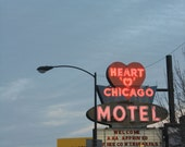 Chicago Photo, Heart 'O' Chicago Motel, Chicago Photography, Chicago Art print, motel photography, vintage neon sign, travel, red, blue
