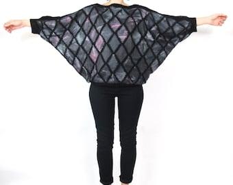 80s Batwing Leather Top Patchwork Crochet Sweater Avant Garde Jumper Purple Pullover Wearable Art Blouse (S/M)