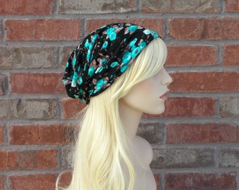 Jersey Knit Slouchy Beanie Floral Beanie Black with Teal Blue Flowers Spring Beanie Festival Clothing Floral Stretchy Hat Teen Beanies