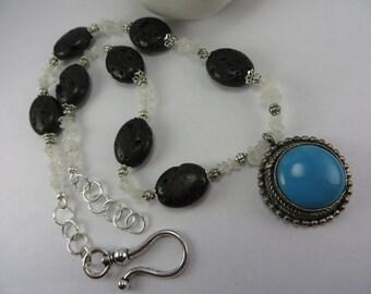 Antique Pendant Necklace Turquoise Blue Black Lava Stone Moonstone Boho Free Shipping