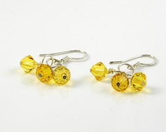 Yellow Crystal Dangle Earrings with Surgical Steel or Sterling