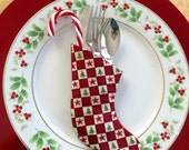 Festive Table Place Setting Checkerboard Square Pattern   Utensil Holder - Set of 4