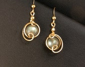 RESERVED LISTING Labradorite Gray Gemstone Gold Drop Earrings, Unique Wire Wrapped Gray and Aqua Earrings