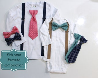 Teal Coral Navy Baby Boy Clothes. Quatrefoil Tie and Suspenders. Newborn Boy Photo Outfit. Toddler Boy Clothes 2t 3t 4t.