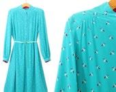 Vintage Silk Dress * Floral Shirtwaist Dress * Turquoise Dress * Large