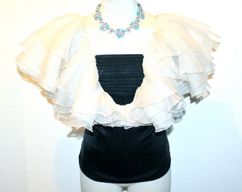 VALENTINO BOUTIQUE Vintage Blouse Silk Formal Ruffle Top - AUTHENTIC -