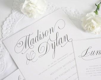 Gray Wedding Invitations - Script Font, Secret Garden Wedding - Classic Wedding Invite - Garden Script Wedding Invitation