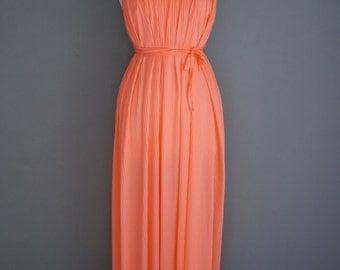 Vintage HALSTON IV Dorian GRECIAN Resort Style Peach Salmon Pleated Maxi Sun Dress (m-l)
