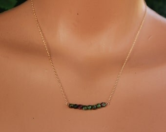Ruby Zoisite Necklace, July Birthstone, Dainty Necklace, Delicate Ruby Zoisite Bar Necklace, Bar Necklace, Ruby Jewelry, Layering Necklace