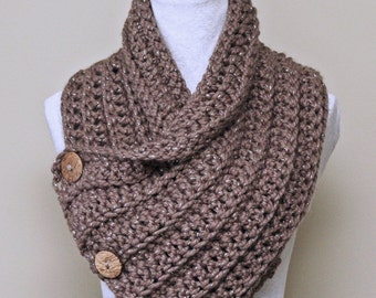 "Chunky Crochet Cowl PATTERN, Scarf with Buttons, Neck Warmer, Easy Beginner Pattern, Made in Canada, ""Saskatoon Cowl"""