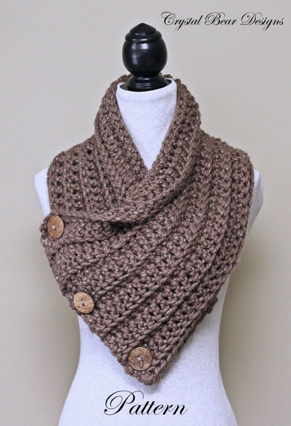 Crochet Scarf Pattern With Button : Chunky Crochet Cowl PATTERN Scarf with Buttons Neck Warmer
