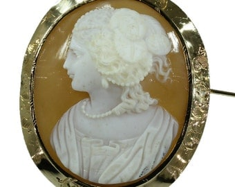 Antique Cameo Brooch Long Ping Yellow Gold Floral Mounting French Origin c.1850