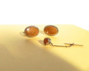 Vintage Cufflinks and Tie Tack set 50s Flash Gold Set - on sale