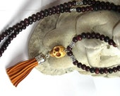 Skull Tassel Necklace Stone Skull leather tassel long necklace