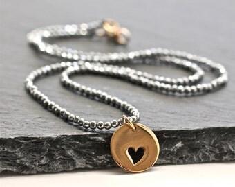 Gray Pyrite Necklace , Sparkly Necklace , Heart Necklace , Amy Fine Design