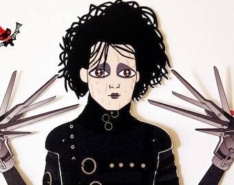Edward Scissorhands Johnny Depp tribute fan art paper doll assembled articulated