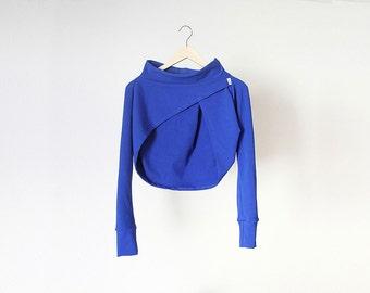 Deep blue modern bolero, cropped with boat neck, Designer bolero /B01/