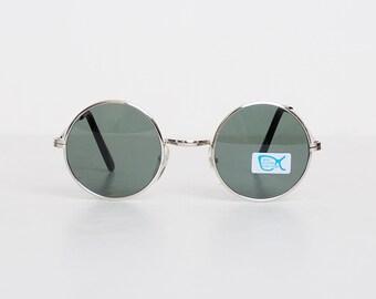 Vintage 90s MOD Round Black & Silver Sunglasses Shades